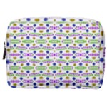 Retro Blue Purple Green Olive Dot Pattern Make Up Pouch (Medium)