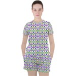 Retro Blue Purple Green Olive Dot Pattern Women s Tee and Shorts Set