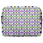 Retro Blue Purple Green Olive Dot Pattern Make Up Pouch (Large)