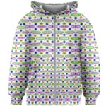 Retro Blue Purple Green Olive Dot Pattern Kids Zipper Hoodie Without Drawstring