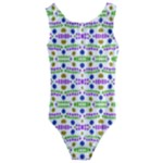 Retro Blue Purple Green Olive Dot Pattern Kids  Cut-Out Back One Piece Swimsuit