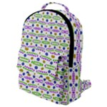 Retro Blue Purple Green Olive Dot Pattern Flap Pocket Backpack (Small)