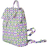 Retro Blue Purple Green Olive Dot Pattern Buckle Everyday Backpack