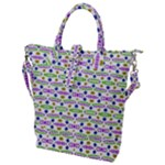 Retro Blue Purple Green Olive Dot Pattern Buckle Top Tote Bag