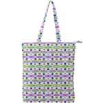 Retro Blue Purple Green Olive Dot Pattern Double Zip Up Tote Bag