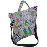 Supersonic volcano snowman Fold Over Handle Tote Bag