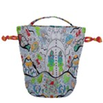 Supersonic volcano snowman Drawstring Bucket Bag