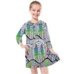 Supersonic volcano snowman Kids  Quarter Sleeve Shirt Dress