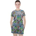 Supersonic volcano snowman Women s Tee and Shorts Set