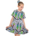 Supersonic volcano snowman Kids  Short Sleeve Shirt Dress