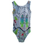 Supersonic volcano snowman Kids  Cut-Out Back One Piece Swimsuit