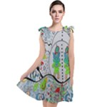 Supersonic volcano snowman Tie Up Tunic Dress
