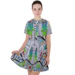 Supersonic volcano snowman Short Sleeve Shoulder Cut Out Dress
