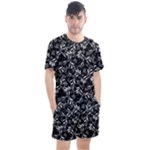 Fancy Floral Pattern Men s Mesh Tee and Shorts Set