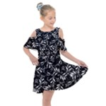 Fancy Floral Pattern Kids  Shoulder Cutout Chiffon Dress