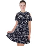 Fancy Floral Pattern Short Sleeve Shoulder Cut Out Dress