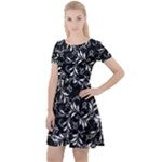 Fancy Floral Pattern Cap Sleeve Velour Dress