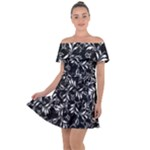 Fancy Floral Pattern Off Shoulder Velour Dress