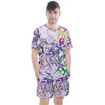 Sketchlines01 Men s Mesh Tee and Shorts Set