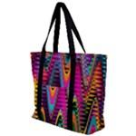 Multicolored Wave Distortion Zigzag Chevrons 2 Background Color Solid Black Zip Up Canvas Bag