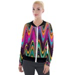 Multicolored Wave Distortion Zigzag Chevrons 2 Background Color Solid Black Velour Zip Up Jacket