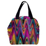 Multicolored Wave Distortion Zigzag Chevrons 2 Background Color Solid Black Boxy Hand Bag