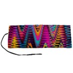 Multicolored Wave Distortion Zigzag Chevrons 2 Background Color Solid Black Roll Up Canvas Pencil Holder (S)