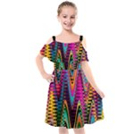 Multicolored Wave Distortion Zigzag Chevrons 2 Background Color Solid Black Kids  Cut Out Shoulders Chiffon Dress