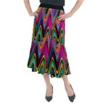 Multicolored Wave Distortion Zigzag Chevrons 2 Background Color Solid Black Midi Mermaid Skirt