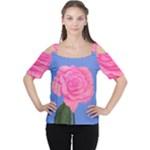Roses Womens Fashion Cutout Shoulder Tee