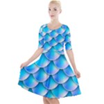 Mermaid Tail Blue Quarter Sleeve A-Line Dress