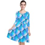 Mermaid Tail Blue Quarter Sleeve Waist Band Dress