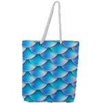 Mermaid Tail Blue Full Print Rope Handle Tote (Large)
