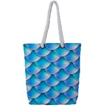 Mermaid Tail Blue Full Print Rope Handle Tote (Small)