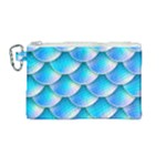 Mermaid Tail Blue Canvas Cosmetic Bag (Medium)