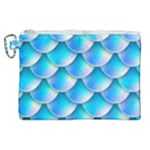 Mermaid Tail Blue Canvas Cosmetic Bag (XL)