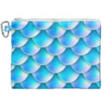Mermaid Tail Blue Canvas Cosmetic Bag (XXL)