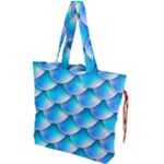 Mermaid Tail Blue Drawstring Tote Bag