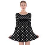 Halloween Skulls Crossbones Long Sleeve Skater Dress