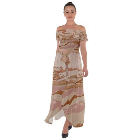 Off Shoulder Open Front Chiffon Dress