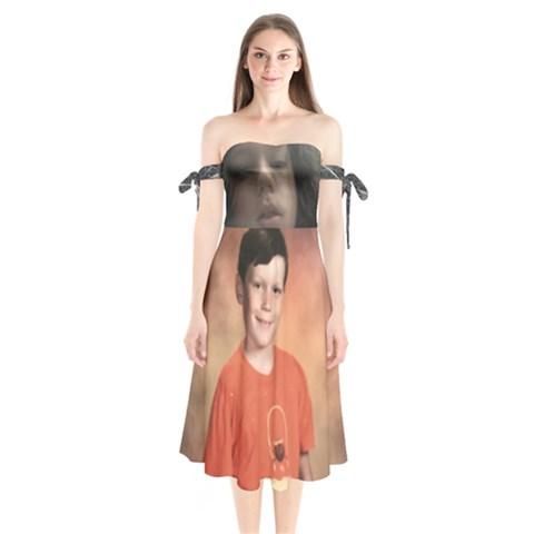 Shoulder Tie Bardot Midi Dress