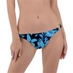 Blue Winter Tropical Floral Watercolor Ring Detail Bikini Bottom