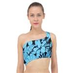 Blue Winter Tropical Floral Watercolor Spliced Up Bikini Top