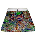 Pop Art - Spirals World 1 Fitted Sheet (Queen Size)