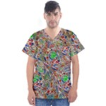Pop Art - Spirals World 1 Men s V-Neck Scrub Top