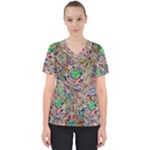 Pop Art - Spirals World 1 Women s V-Neck Scrub Top