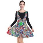 Pop Art - Spirals World 1 Plunge Pinafore Dress