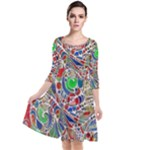 Pop Art - Spirals World 1 Quarter Sleeve Waist Band Dress