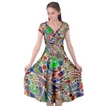 Pop Art - Spirals World 1 Cap Sleeve Wrap Front Dress