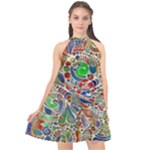 Pop Art - Spirals World 1 Halter Neckline Chiffon Dress
